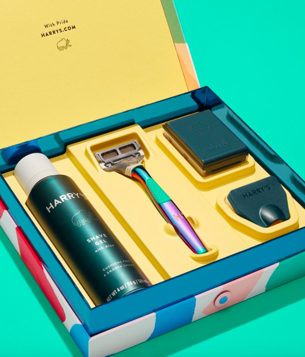 """<h3>Harry's</h3><p>The men's grooming brand Harry's has launched a limited-edition Pride shaving set — complete with an iridescent razor handle, three blade cartridges, a travel cover, and a shaving gel — all encased in a box designed by queer, Madrid-based artist <a href=""""https://www.instagram.com/josearoda/?hl=en"""" rel=""""nofollow noopener"""" target=""""_blank"""" data-ylk=""""slk:José Roda"""" class=""""link rapid-noclick-resp"""">José Roda</a>. One-upping a lot of other brands out there, this set donates 100% of profits to <a href=""""https://www.thetrevorproject.org/"""" rel=""""nofollow noopener"""" target=""""_blank"""" data-ylk=""""slk:The Trevor Project"""" class=""""link rapid-noclick-resp"""">The Trevor Project</a>, which provides crisis intervention services to LGBTQ+ people 25 and younger. Additionally, Harry's has donated $200,000 to support The Trevor Project's new on-demand training system that aims to increase the number of crisis counselors overall.</p><br><br><strong>Harry's</strong> Shave With Pride Set, $25, available at <a href=""""https://www.harrys.com/en/us/products/pride-set"""" rel=""""nofollow noopener"""" target=""""_blank"""" data-ylk=""""slk:Harry's"""" class=""""link rapid-noclick-resp"""">Harry's</a>"""