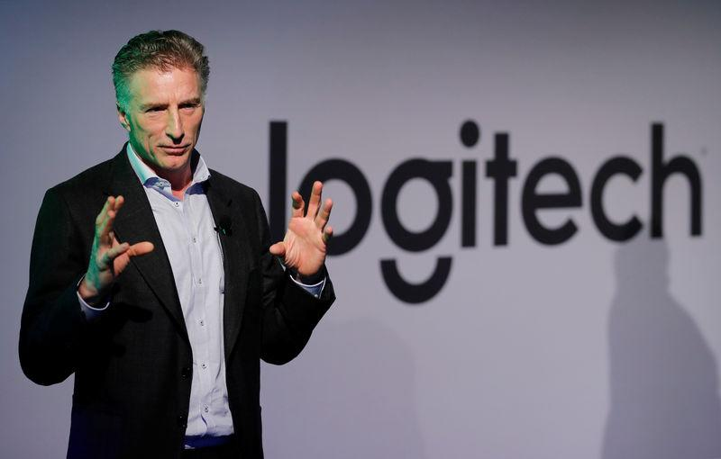 CEO Darrell of the computer peripherals maker Logitech addresses a news conference in Zurich