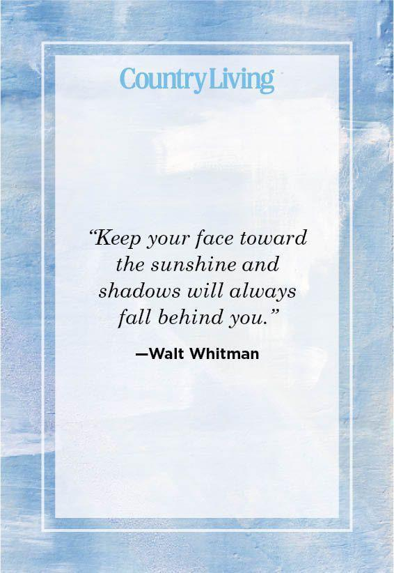 """<p>""""Keep your face toward the sunshine and shadows will always fall behind you.""""</p>"""
