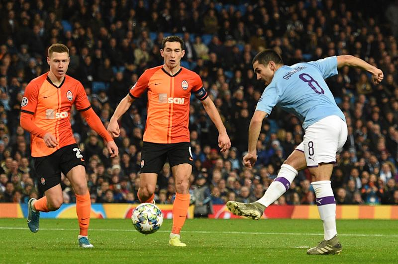Gundogan puts City in front. (Photo by Oli SCARFF / AFP) (Photo by OLI SCARFF/AFP via Getty Images)