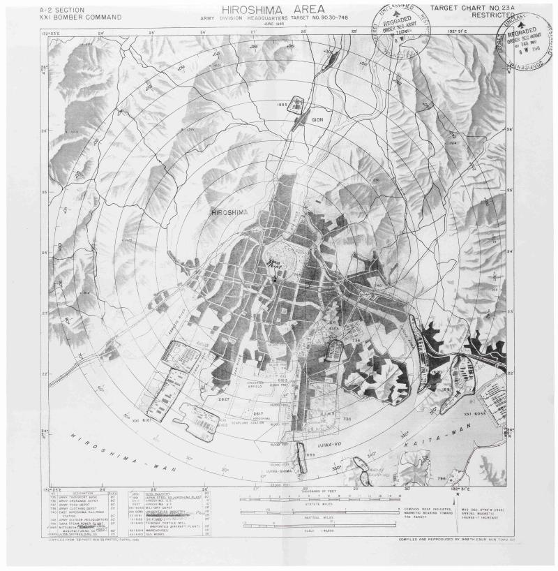 This undated handout image provided by the National Archives and Records Administration (NARA) shows a photocopy of a map created by the Army Air Corps to plan the dropping of an atomic bomb on Hiroshima, Japan, during World War II, indicating Map of Target Area 90-30-748, Hiroshima Area, A-2 Section, XXI Bomber Command, June 1945.  A new Government Accountability Office (GAO) audit says the National Archives has a huge backlog of physical records that need preservations before they are lost and that nearly 80 percent of government agencies are at risk of illegally destroying public records.   (AP Photo/U.S National Archives Records Administration)