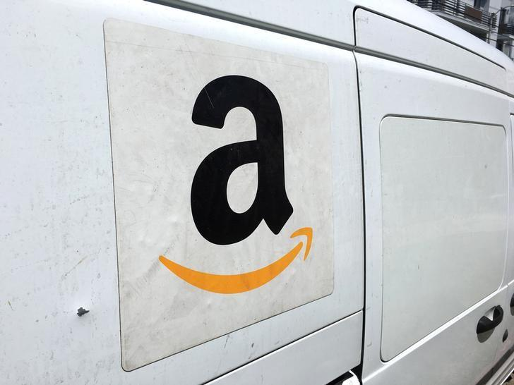 An Amazon delivery truck is seen in Los Angeles