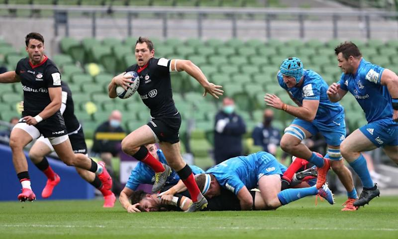 Alex Goode breaks clear to score Saracens' opening try against Leinster in the Champions Cup quarter-final.