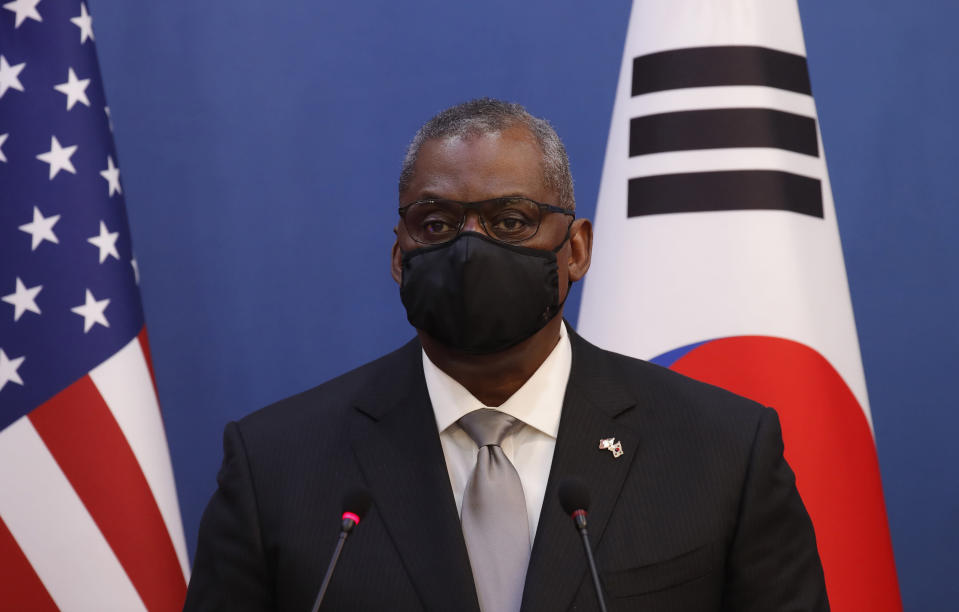 U.S. Defense Secretary Lloyd Austin speaks during the joint press conference after their meeting with U.S. Secretary of State Antony Blinken, South Korean Foreign Minister Chung Eui-yong, and South Korean Defense Minister Suh Wook at the Foreign Ministry in Seoul, South Korea, Thursday, March 18, 2021. (AP Photo/Lee Jin-man, Pool)