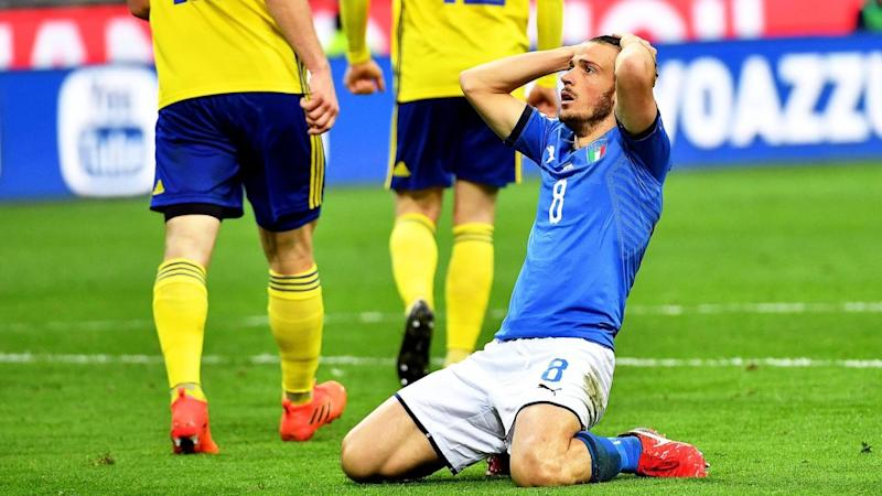 Italy's Alessandro Florenzi reacts after another missed opportunity to score against Sweden