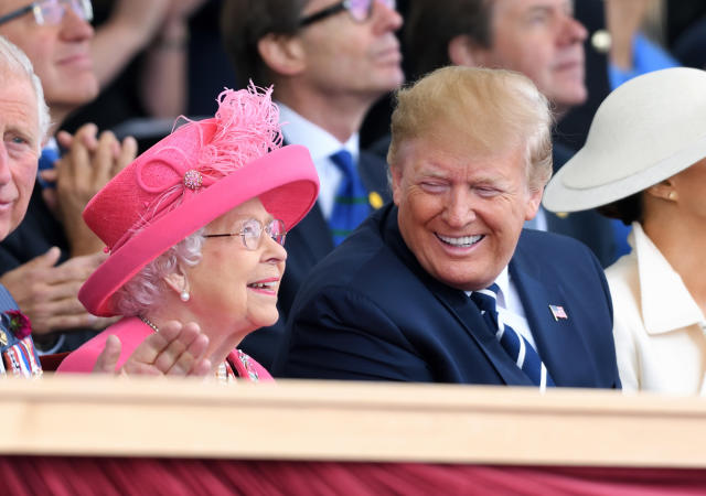 The Queen with Donald Trump at the celebrations for the 75th anniversary of D-Day. (WireImage)