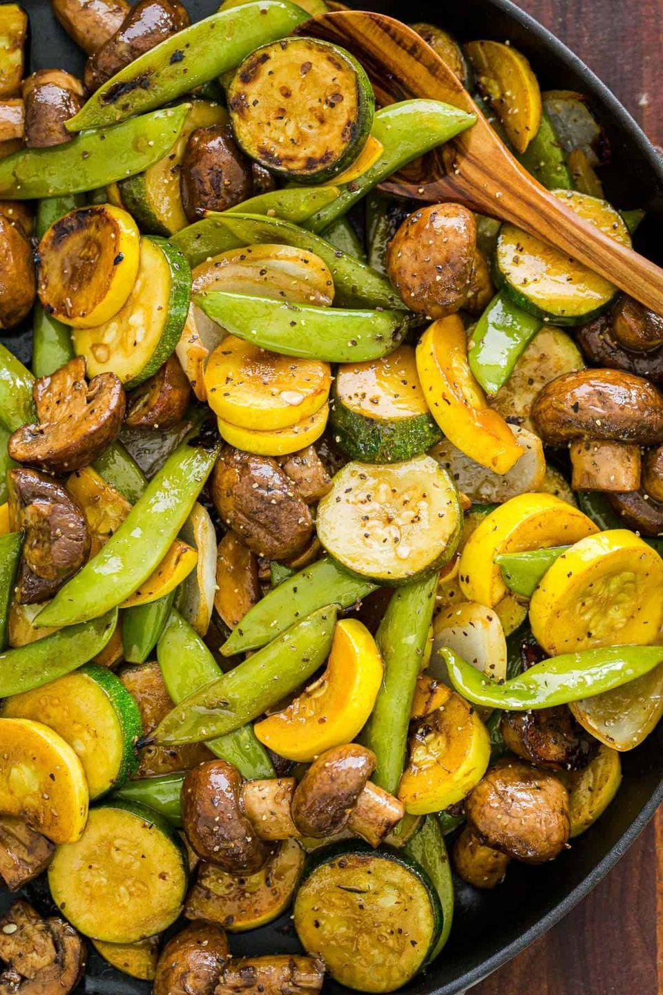 """<p>A homemade balsamic dressing quickly elevates your standard grouping of grilled vegetables. And, best of all, the recipe is easily adaptable to whatever produce you have on hand. </p><p><a href=""""https://natashaskitchen.com/balsamic-grilled-vegetables/"""" rel=""""nofollow noopener"""" target=""""_blank"""" data-ylk=""""slk:Get the recipe."""" class=""""link rapid-noclick-resp"""">Get the recipe. </a></p>"""