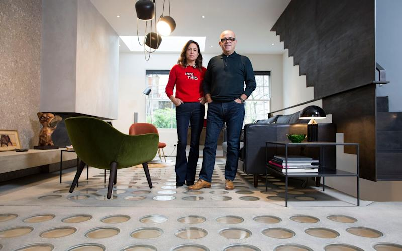 Mauro and Ashlea Sanna had pavement lights installed in the floor of their London home to brighten the basement -  Jeff Gilbert for the Telegraph