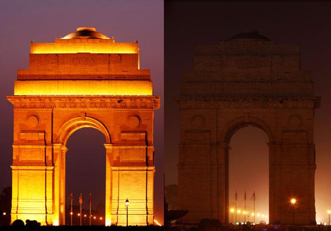 Earth Hour 2010. Before and after the lights were switched off at the India Gate, New Delhi, India.