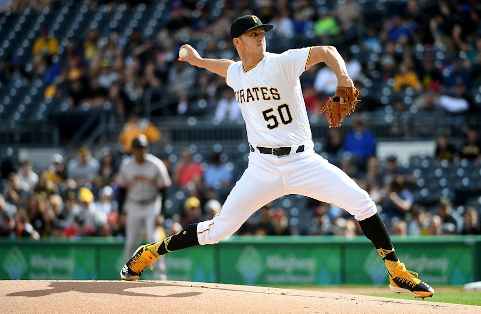 PITTSBURGH, PA - APRIL 20: Jameson Taillon #50 of the Pittsburgh Pirates delivers a pitch in the first inning during the game against the San Francisco Giants at PNC Park on April 20, 2019 in Pittsburgh, Pennsylvania. (Photo by Justin Berl/Getty Images)