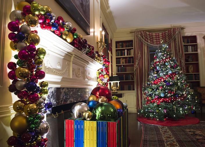 Christmas trees and holiday decorations in the theme of,
