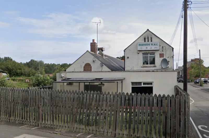 Burnside Working Men's Club, where 28 people tested positive for COVID-19 after attending a charity football game. (Google Maps)