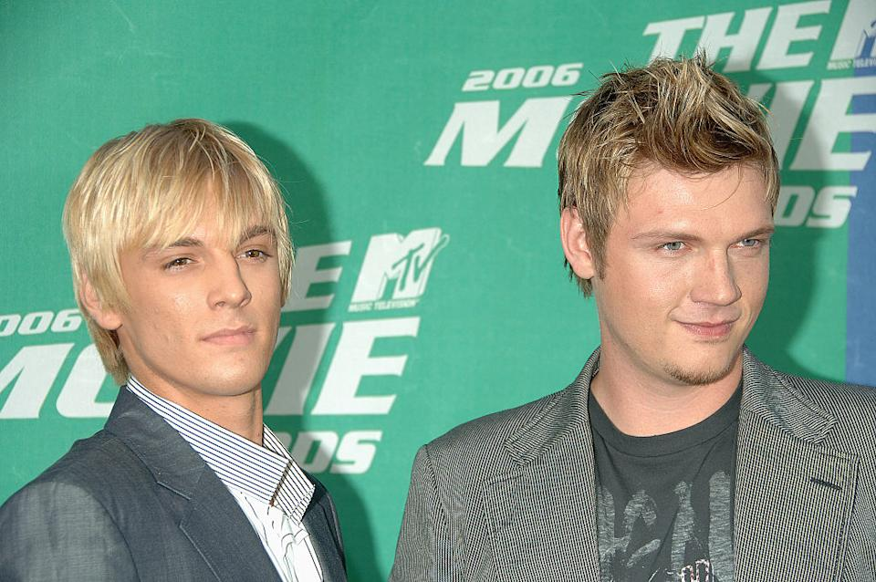 Aaron and Nick Carter arrive at the 2006 MTV Movie Awards at Sony Studios in Culver City, Calif. (Photo: Frank Trapper/Corbis via Getty Images)