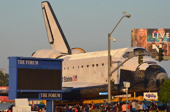 Space shuttle Endeavour as seen as it arrived at The Forum in Inglewood, Calif. on Saturday, Oct. 13, 2012. The Forum hosted a formal sendoff for the shuttle on its final journey to the California Science Center for display.