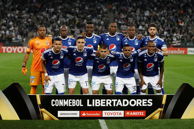 Soccer Football - Copa Libertadores - Brazil's Corinthians v Colombia's Millonarios - Arena Corinthians Stadium, Sao Paulo, Brazil - May 24, 2018 - Millonarios players pose before the match. REUTERS/Leonardo Benassatto