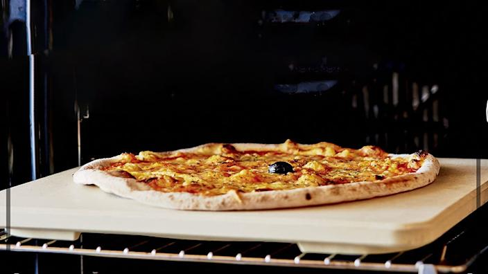 This pizza stone is on sale and makes cooking easy.