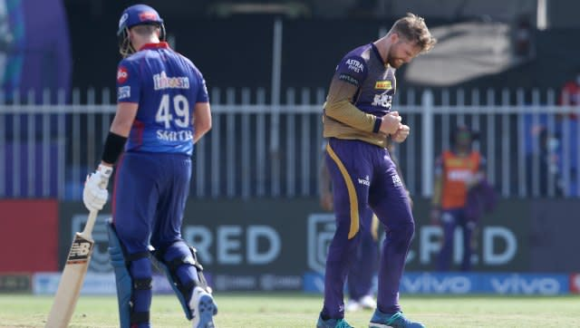 Lockie Ferguson of Kolkata Knight Riders celebrates after takes a wikcet of Steve Smith of Delhi Capitals during match 41 of the Vivo Indian Premier League between the KOLKATA KNIGHT RIDERS and the DELHI CAPITALS held at the Sharjah Cricket Stadium, Sharjah in the United Arab Emirates on the 28th September 2021 Photo by Rahul Gulati / Sportzpics for IPL