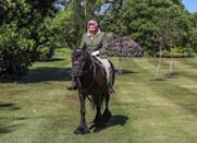 <p>Queen Elizabeth released a photo of herself enjoying a relaxing horseback ride in Windsor Park during the lockdown restrictions in 2020. At 94, the Queen still enjoys riding her horse, Balmoral Fern. </p>