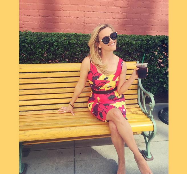 "<p>To celebrate <a href=""https://www.yahoo.com/food/15-ways-to-snag-free-or-cheap-coffee-on-national-190207780.html"">National Coffee Day</a> the actress posted this colorful snap with a cup of iced coffee. ""Wait! Stop the presses! It's #NationalCoffeeDay!"" she joked.</p><p><i>Photo: Instagram/<a href=""https://instagram.com/reesewitherspoon/"">reesewitherspoon</a></i></p>"