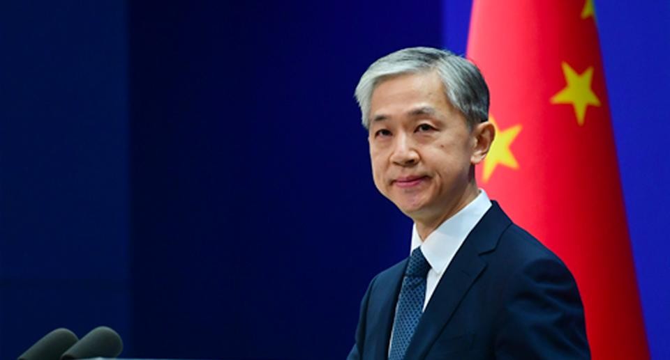 Wang Wenbin, a spokesperson for China's Foreign Ministry, is pictured.