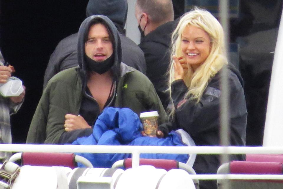 <p>Costars Sebastian Stan and Lily James get ready to film a boat scene for <em>Pam and Tommy</em> in L.A. on June 7.</p>