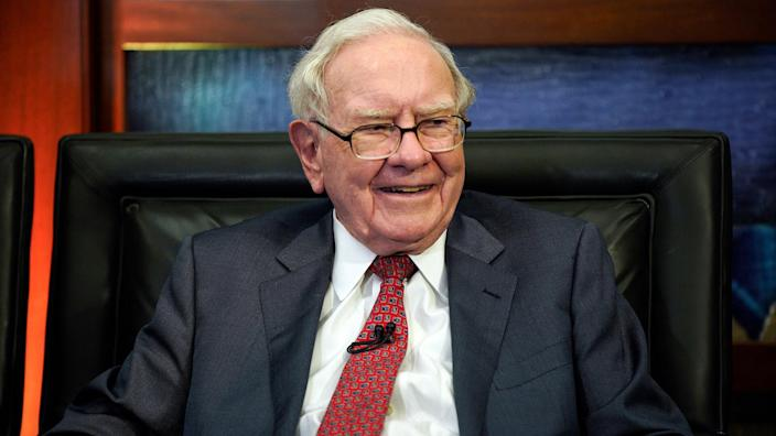 Mandatory Credit: Photo by Nati Harnik/AP/REX/Shutterstock (9790747a)Berkshire Hathaway Chairman and CEO Warren Buffett smiles during an interview in Omaha, Neb.