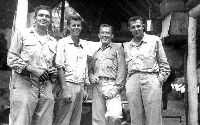 "<p>PT boat officers, from left: George ""Barney"" Ross, John F. Kennedy, Paul ""Red"" Fay, and James ""Jim"" Reed in Tulagi, Solomon Islands, in 1943. (Photo: John F. Kennedy Presidential Library and Museum) </p>"