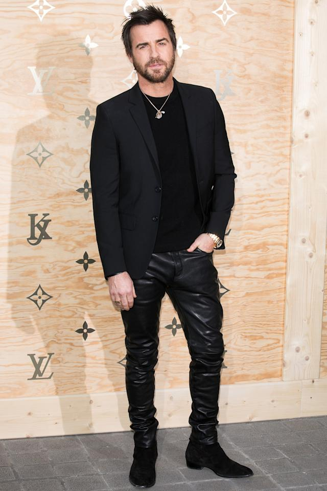 """<p>WHERE: At the 'Louis Vuitton Masters dinner celebrating their new collaboration with Jeff Koons in Paris</p><p>WHEN: April 11, 2017</p><p>WHY: Because this is <a rel=""""nofollow"""" href=""""http://www.gq.com/gallery/justin-theroux-style-look-book-outfits?mbid=synd_yahoostyle"""">peak Theroux</a> (all-black, kind of badass, fit like a glove), and peak Theroux is the best Theroux.</p>"""