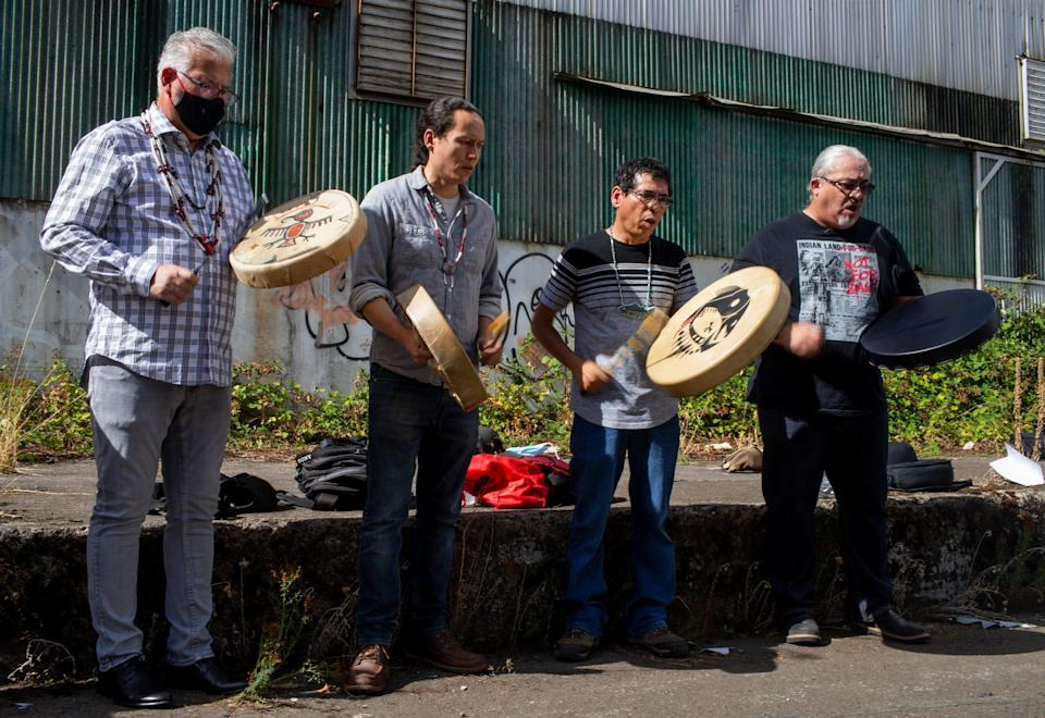 A prayer ceremony preceded the start of demolition work at the former Blue Heron paper mill as the Confederated Tribes of Grand Ronde marked the beginning on-site work at Willamette Falls in Oregon City on Tuesday. The tribes acquired the property in 2019 and plans on restoring the site ecologically while also creating mixed-use development and public gathering spaces.
