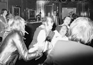 <p>Elton John, Neil Sedaka and Bernie Taupin partying in London in 1975.</p>