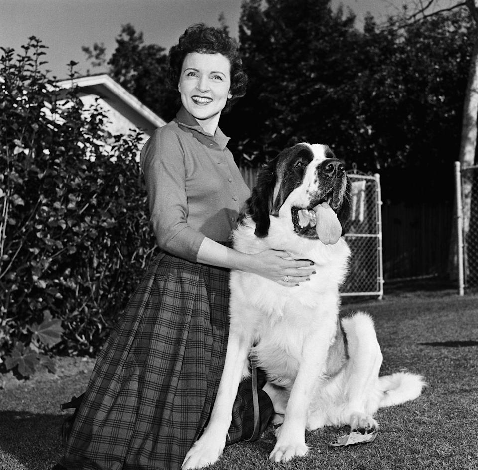 """<p>Here, White is seen posing next to her beloved dog, Stormy. The actress has been a life-long advocate for animals, spending <a href=""""https://parade.com/53369/michelechollow/betty-white-dishes-on-her-love-of-animals/"""" rel=""""nofollow noopener"""" target=""""_blank"""" data-ylk=""""slk:much of her free time"""" class=""""link rapid-noclick-resp"""">much of her free time</a> volunteering at various animal organizations.</p><p><strong>RELATED: <a href=""""https://www.redbookmag.com/life/g29470739/celebs-with-dogs/"""" rel=""""nofollow noopener"""" target=""""_blank"""" data-ylk=""""slk:30+ Photos of Celebs With Their Dogs"""" class=""""link rapid-noclick-resp"""">30+ Photos of Celebs With Their Dogs</a></strong> </p>"""