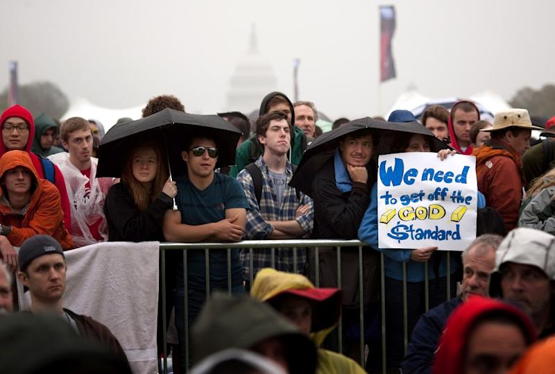 Attendees listen to speakers during a National Atheist Organization rally in Washington, DC on March 24, 2012 (AFP Photo/Allison Shelley)