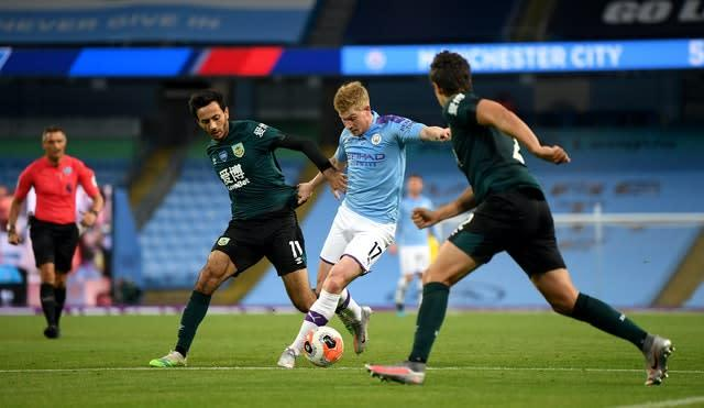Kevin De Bruyne was introduced just after the hour mark (PA)