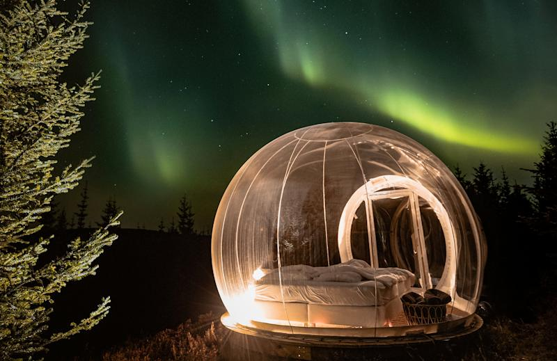 How amazing is this bubble hotel near Reykholt, Southern Iceland? (SWNS)