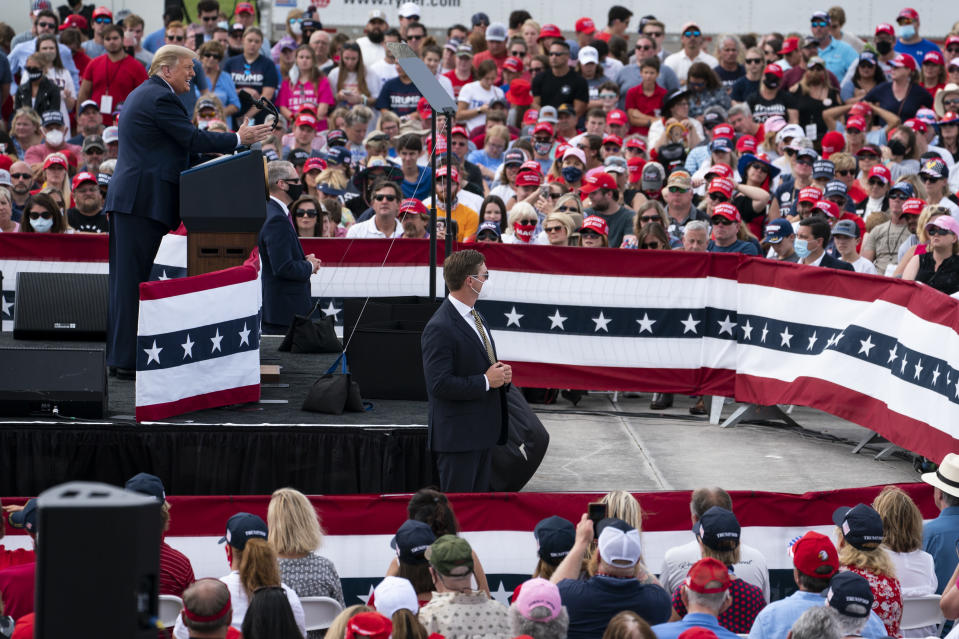 President Donald Trump speaks during a campaign rally at Pitt-Greenville Airport, Thursday, Oct. 15, 2020, in Greenville, N.C. (AP Photo/Evan Vucci)
