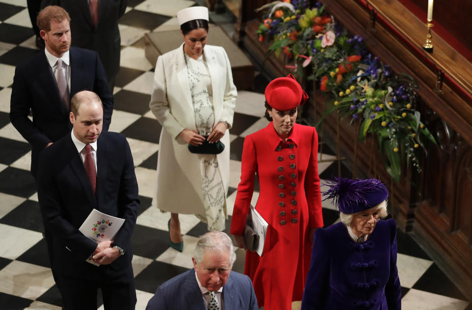 Harry, Meghan, William and Kate at the Commonwealth Day service [Photo: PA]