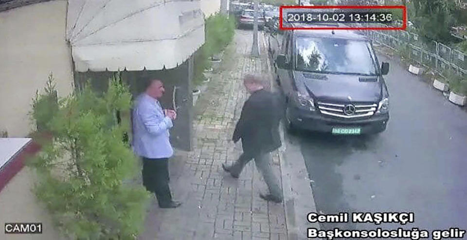 A still image taken from CCTV video obtained by the Turkish newspaper Hurriyet claiming to show Saudi journalist Jamal Khashoggi entering the Saudi consulate in Istanbul, Turkey on Oct. 2, 2018. (CCTV via Hurriyet via AP)