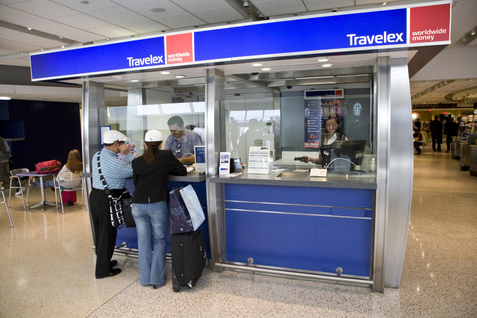 Travelex currency exchange shop at JFK International Airport Terminal 7. (Photo by James Leynse/Corbis via Getty Images)
