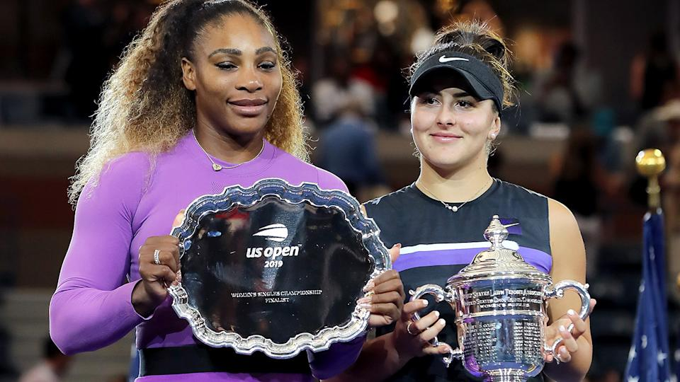 Bianca Andreescu with Serena Williams, pictured here after the 2019 US Open final.