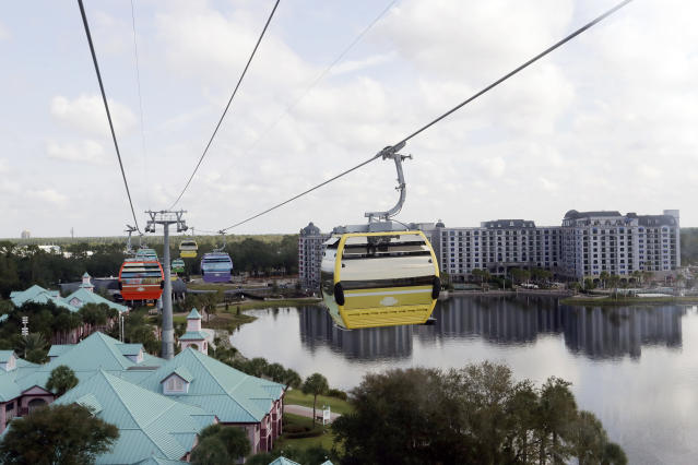Gondolas move over the Caribbean Beach Resort at Walt Disney World on the Disney Skyliner aerial tram, Friday, Sept. 27, 2019, in Lake Buena Vista, Fla. The Disney Skyliner gondolas opening to visitors on Sunday are the latest addition to one of the largest private transportation systems in the U.S. (AP Photo/John Raoux)