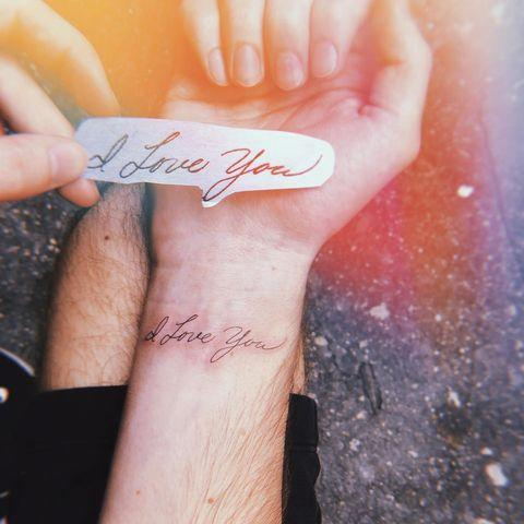 """<p>Nothing is more personal than a tattoo in your loved one's handwriting. Every time you look down at your ink, you'll turn into a big pile of mush.</p><p><a href=""""https://www.instagram.com/p/B0ji6KSgytb/?utm_source=ig_embed&utm_campaign=loading"""" rel=""""nofollow noopener"""" target=""""_blank"""" data-ylk=""""slk:See the original post on Instagram"""" class=""""link rapid-noclick-resp"""">See the original post on Instagram</a></p>"""