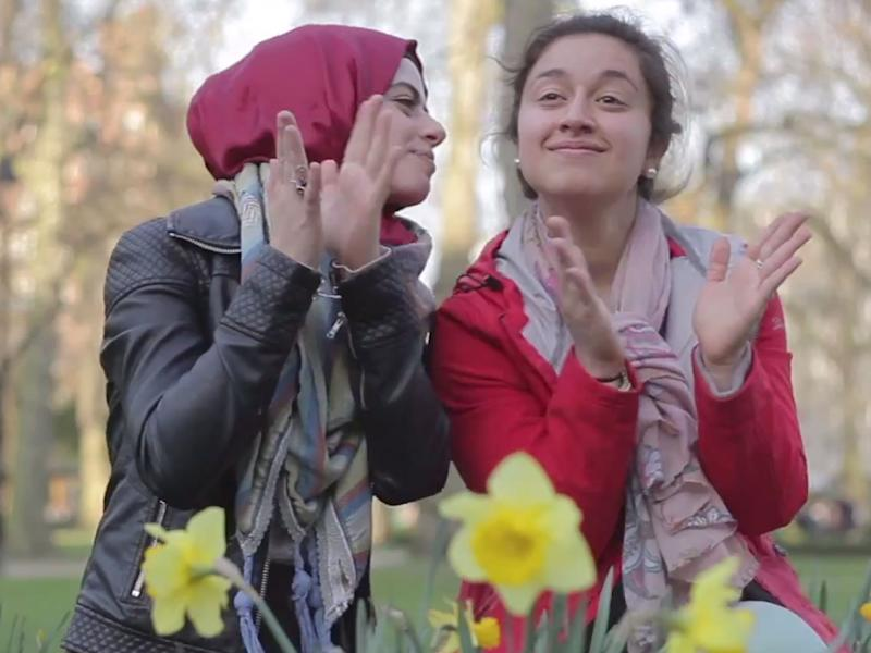 Two young British Muslims dance in The Honesty Policy's 'Happy' video: The Honesty Policy/YouTube