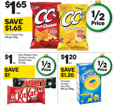 Chips and chocolates on sale for half-price at Woolworths.