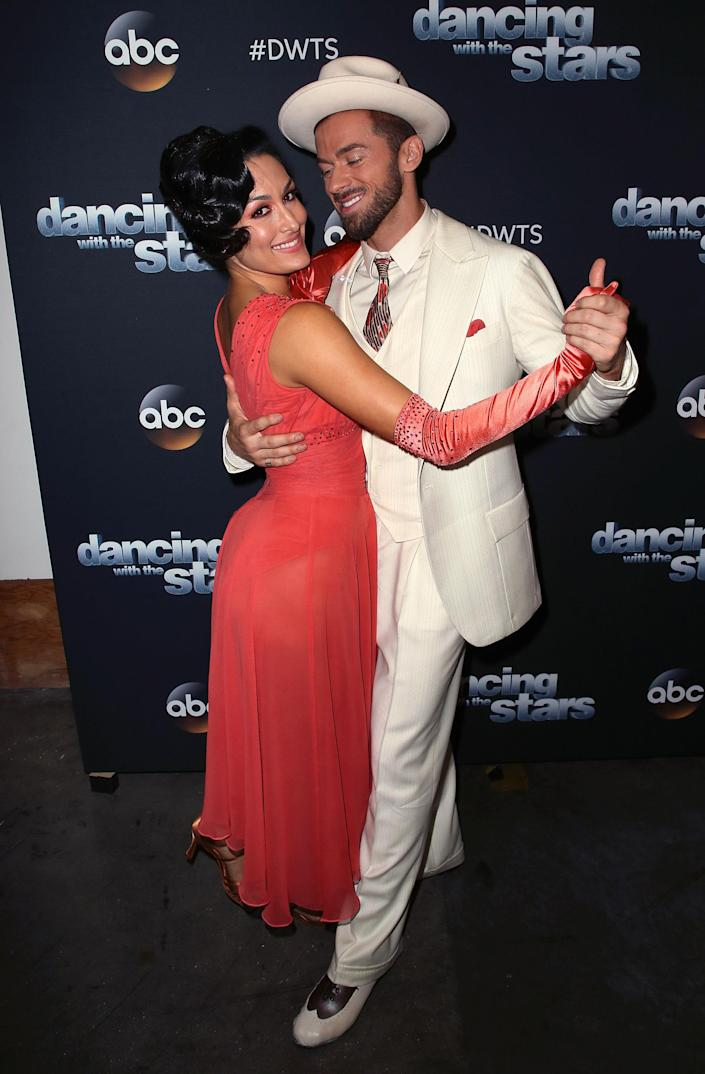 Nikki Bella and Artem Chigvintsev pose for <em>Dancing With The Stars</em> at CBS Television City in October 2017 in Los Angeles, California. (David Livingston/Getty Images)