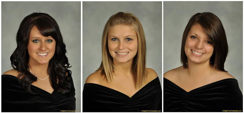 In this undated combination photo released by Bowling Green State University, shown from left is, Sarah Hammond, 21, a junior from Yellow Springs, Ohio, Rebekah Blakkolb, 20, a junior from Aurora, Ohio, and Christina Goyett, 19, a sophomore from Bay City, Mich.  The three sorority sisters were killed in an automobile accident on Friday, March 2, 2012. (AP Photo/Bowling Green State University)