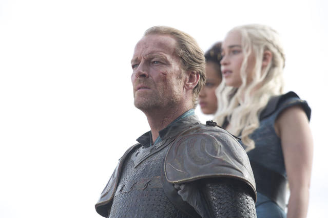 "Iain Glen, Nathalie Emmanuel, and Emilia Clarke in the ""Game of Thrones"" Season 3 finale, ""Mhysa."""