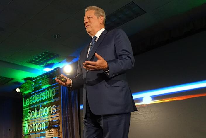 """Former US vice president Al Gore lamented killer heat waves, drought, a media that doesn't connect the dots between extreme weather and global warming, and what he called """"crazy short-term thinking"""" among politicians who deny climate change (AFP Photo/Kerry Sheridan)"""