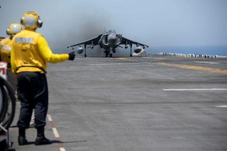 An AV-8B Harrier II launches from the amphibious assault ship USS Boxer to conduct missions in support of Operation Inherent Resolve (U.S. military's operational name for the intervention against the Islamic State of Iraq and the Levant, ISIL), in the Arabian Gulf, June 16, 2016. Mass Communication Specialist 3rd Class Michael T. Eckelbecker/U.S. Navy/Handout via Reuters