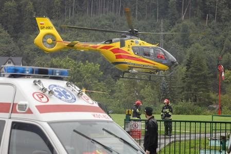 HEMS Polish Medical Air Rescue (LPR) helicopter takes part in a rescue operation after a thunderstorm in the Tatra Mountains, in Zakopane