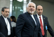 Iranian Foreign Minister Mohammad Javad Zarif arrives for the 74th session of the United Nations General Assembly, at U.N. headquarters, Monday, Sept. 23, 2019. (AP Photo/Craig Ruttle)